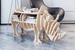 houten neushoorn tafel