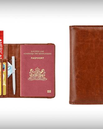 paspoorthouder leer