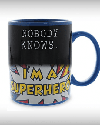 warmtegevoelige superheld mok