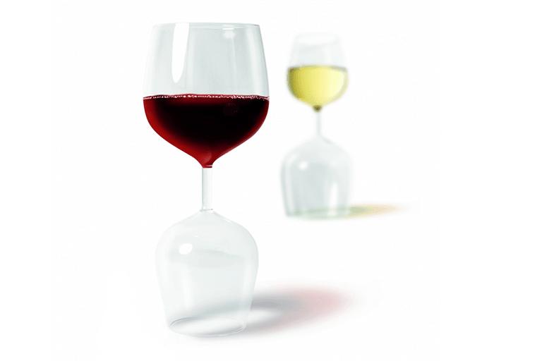 rood wit wijnglas