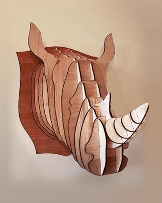 houten neushoorn jachttrofee